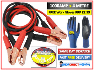HEAVY DUTY 1000AMP CAR VAN JUMP LEADS 4 METRES BOOSTER CABLE START & GLOVES NEW