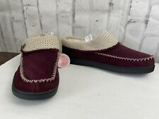 Earth Spirit Cloud Ease Rylie Faux Fur Knitted Suede Slippers Burgundy Sz 11-12