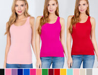 S-L Women Basic Cotton Tank Top Double Scoop Neck Sleeveless Gym Layering Solids