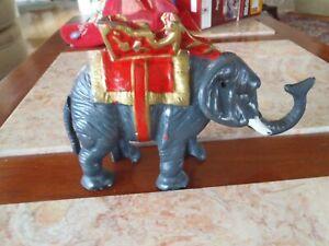 Vintage Cast Iron Mechanical Bank Circus Elephant Coin Metal Piggy Bank Gray