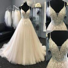 Champagne Beads Applique  Wedding Dress Spaghetti Straps V Neck Bride Gown