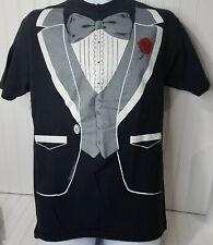 Tuxedo T-Shirt Vintage Hanes Beefy Tee 1980 Single Stitch Black M L