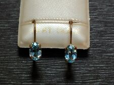 Exclusive Blautopas Creolen - 6 x 4 mm - 10 Kt. Gold 417 - Ohrringe Oval Schliff