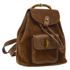 Auth GUCCI Bamboo Handle Backpack Bag Brown Suede Leather Vintage Italy S08008f