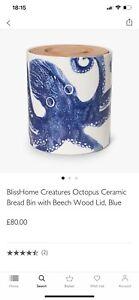 Blisshome creatures,Ceramic Bread Bin, Beech Wood Lid Originally £80 John Lewis