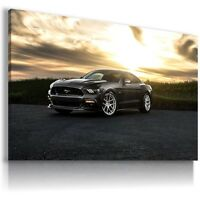 FORD MUSTANG BLACK Sports Cars Wall Art Canvas Picture AU268 MATAGA