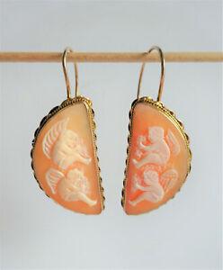 Jugendstil Art Deco große Ohrringe Muschel Gemme Engel Silber 925 vergoldet