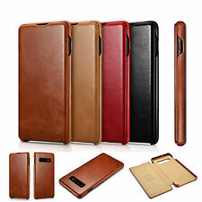 ICARER Original Genuin Leather Flip Case Cover F Samsung Galaxy Note S9 S10 Plus