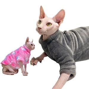 Hairles Cat Winter Thick Clothes Sphynx Coat Pajamas Soft Velvet Pet Clothes