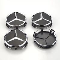 4x 75mm schwarz Radmitte Radkappe Abzeichen Emblem Felgenabdeckung Mercedes Benz
