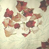 "Vintage Barkcloth Cutter Curtain Burgundy LEAVES 106"" x 68"" MCM"