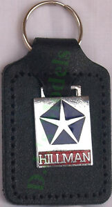 Hillman Keyring Key Ring blue and red badge mounted on a leather fob