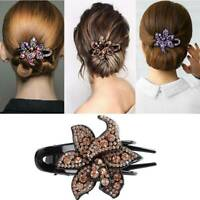 Women's Crystal Hair Clips Slide Flower Hairpin Comb Hair Grips Accessories au