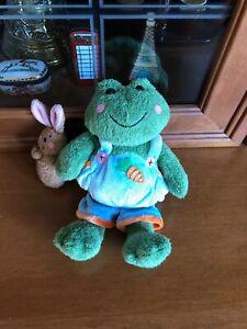 "Gund 7"" Ribbit Frog Plush #60032 Carrot Backpack Bunny Rabbit HTF"