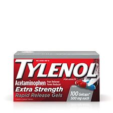 Tylenol Acetaminophen Extra Strength Rapid Release Gels 100 Caplets Each