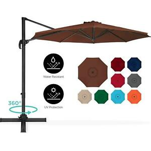 10 Ft Cantilever Offset Patio Umbrella 360 Degree Rotating With Tilt Multi