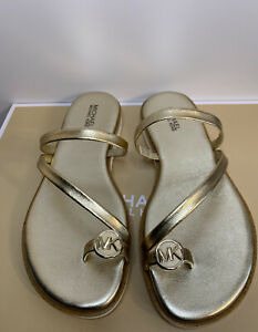 New - Women's Michael Kors Letty Pale Gold Leather Thong Sandals Size 9