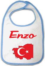 Bavoir Bébé Bleu Carte Turquie avec Drapeau avec Prénom Personnalisé