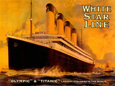 VINTAGE CRUISE ART PRINT - White Star Line OLYMPIC & TITANIC 24x32 Travel Poster
