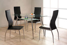 Dining Table Set Glear Glass Under Shelf Four Black Leather Chairs Chrome Frame