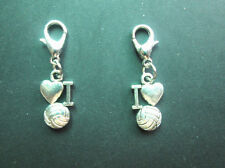 """10pcs Antique Silver  """"I Love Volleyball"""" Charms Beads Lobster Clasp Pendants"""