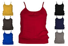 WOMENS GATHERED VEST TOP TANK STRAPPY PLUS SIZE LADIES CAMI SHORT BODYCON JERSEY