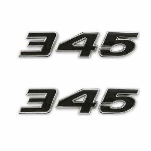 (2pc) Black 345 Badge Emblem Chrome Trim for MOPAR HEMI Passenger & Driver Side