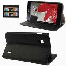 Book sac carbon style pour LG e973 Optimus G Noir avec fonction d'aspiration étui