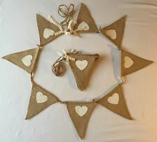 Bunting - Hessian & White Heart Lace Christening Wedding Rustic Shabby Chic  6ft