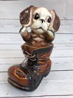Vintage 50s Ceramic Figural Dog In Shoe Bank Cute