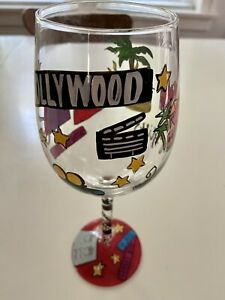 NEW Beverly Hills Hollywood Los Angeles California Decorative Painted Wine Glass