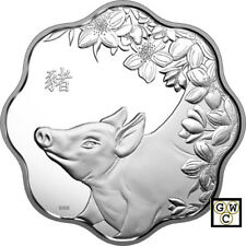 2019 'Year of the Pig(Lunar Lotus-Scallop Shaped)Prf $15 Fine Silver Coin(18579)