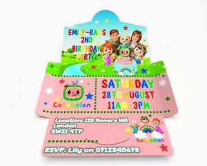 Personalised CoCoMelon Birthday Invitations. Invite & Envelope in one PK 10 Pink