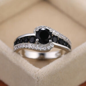 Cubic Zirconia Rings 925 Silver Ring Elegant Women Engagement Jewelry Size 6-10
