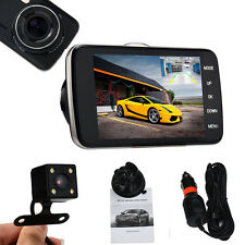 4'' IPS HD 1080P Car Dual Lens Camera DVR Video Recorder Rear Dash Cam G-sensor