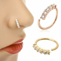 1Pc Stainless Steel Crystal Piercing Nose Ring Nose Stud Rings Body Jewelry GFEH