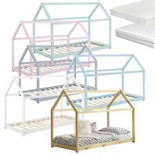 [en.casa] Kinderbett + Matratze 90x200cm Haus Holz Bettenhaus Hausbett Bett