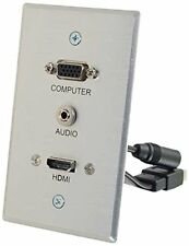 C2g Hdmi, Vga + 3.5mm Pass Through Single Gang Wall Plate - 1-gang - Aluminum -