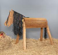 Holzpferd,Voltigierpferd,Pferd- bew.Kopf, 115 cm Farbe Kastanie mit Flechtmähne