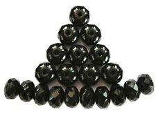 20 BLACK faceted Czech glass donut beads - 4x7mm (4-7fpdon2398)