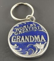 Collectible Solid Pewter Keychain Enameled Worlds Greatest Grandma