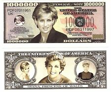 1-Princess Diana Di  Million Dollar Bill --NOVELTY  -FAKE  free ship item -I