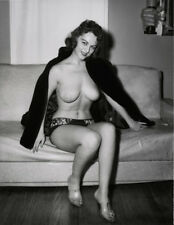 60s Busty Nude pinup open fur coat on leather couch 8 x 10 Photograph