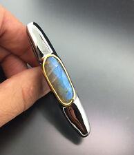 LABRADORIT Ring 75x13,5 mm Unikat XXL Ring zum Verlieben Silber vergoldet 760.-E