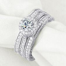 925 Sterling Silver Round Cz Sz 7 Newshe Engagement Wedding Ring 3pcs Set 2.4ct