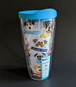 Tervis Clear Tumbler 1217075  Art - Dogs Puppies Wrap w/ Turquoise Lid 24oz