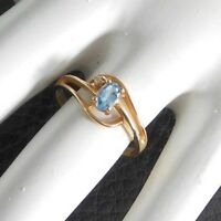 Vintage Ring Solid 10K Yellow Gold Blue Topaz Diamond Stone Cocktail Estate 5