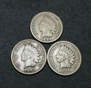 US Lot Of 3 Indian Head Penny 1 Cent Coins 1891 1896 1907 Good Lot (14)