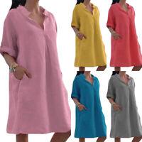 Women Summer Short Sleeve Long T-Shirt Casual Loose Dress Top Blouse Plus Size