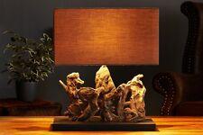 Lámpara de MESA 50cm Moderno Muy Artístico auténtica madera combustible Paño